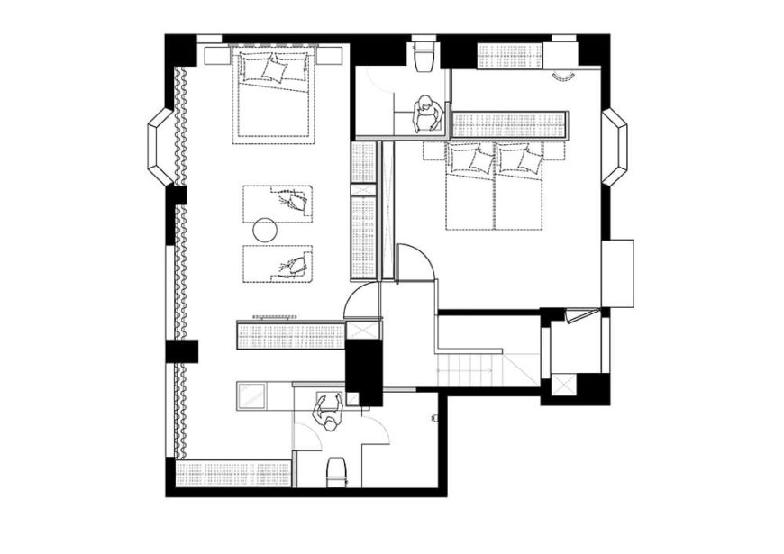 Here you can see the layout of the second floor and how the space was utilized.