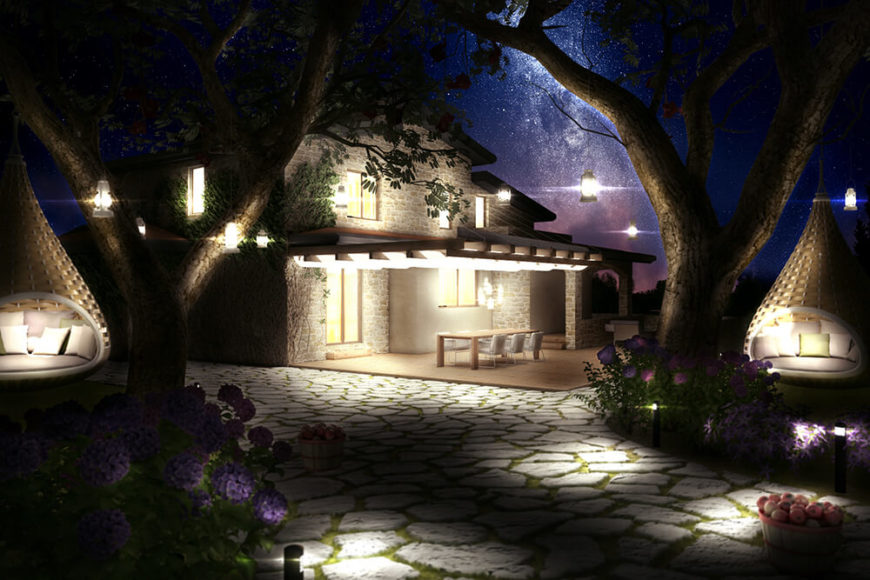 Returning to the exterior for a night show, we can see how the carefully plotted arrangement of exterior lighting enhances the environment, framing the home in a warm glow.