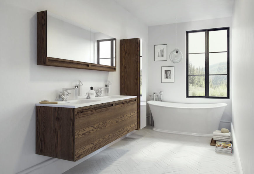 Incredible bathroom design created with W2 brand products from WETSTYLE
