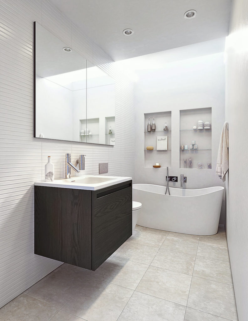 This small bathroom design also features the W2 Wave Tub, The smaller single vanity. As you can see here, a smaller bathroom can be made to feel larger by adding tiled inserts in either the shower or bathtub area.