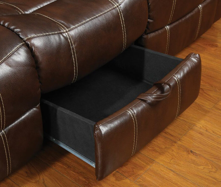 The sofa features a unique pull-out drawer at center, discreetly adding space for remote controls or anything else you may need handy.