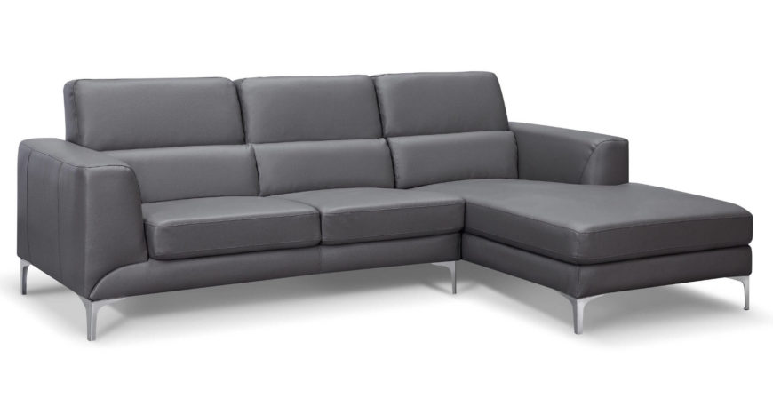 This sectional flaunts a subtly modern design, with a tiered cushioning and a bespoke, subtle chrome frame. The chaise lounge adds a new dimension of comfort and will be the envy of any friends in your man cave.
