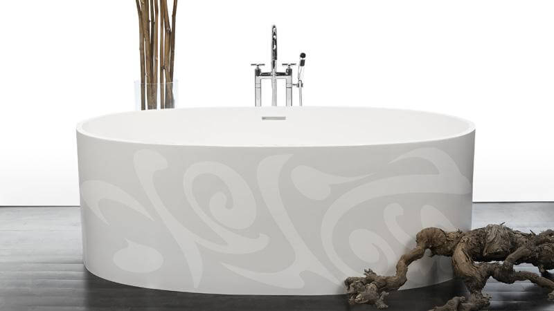 The exclusive designs of the IMAGE-in motif bathtubs by WETSTYLE are a departure from the sleek, minimalist designs favored by the other collections, instead introducing subtle designs that are sure to catch the eye. The Calligraphy model features expressive, flowing markings. The Calligraphy motif is available on the following models: BBE02, BOV01-62, BOV01-66, and BOV 02.