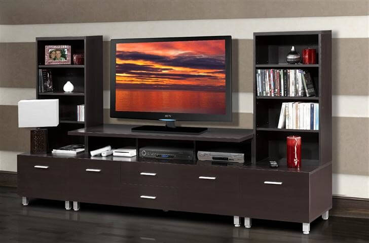 Sleek modern style is taken to the next level with this rich dark chocolate wood entertainment center. Several layers of interlocking shelving stand over a sturdy base with abundant drawer storage, making for an exceptionally attractive display system. This one would be perfect for the man cave in a modern home, fitting amongst more updated, minimalist spaces.