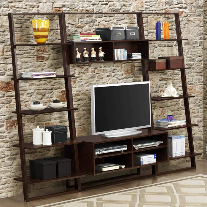 This entertainment center drops a thoroughly open design into your man cave, with a barely-there frame that leaves plenty of space for display. The open framing allows the large unit to practically disappear, never obscuring the wall behind it, while still providing a handful of storage options.