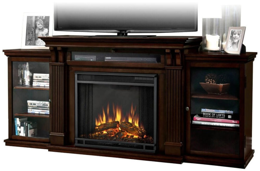 This is probably the most unusual entry on our list, but it appears to be becoming a more common sighting: an entertainment center with a built-in electric fireplace! With many modern homes forgoing a traditional fireplace, and many man caves being built into existing rooms without them, it's a strangely satisfying feature. The traditional wood setup also includes a pair of glass door shelving enclosures for plentiful storage.