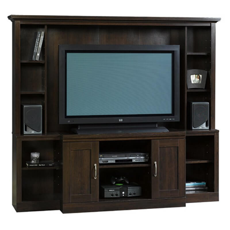 This entertainment center is an elegant piece, boasting dark wood and a lot of enclosed storage to conceal electronics or media. It'd fit perfectly in a more stately space, perhaps a man cave that's styled more like a traditional smoking room or library. With a high back and abundant shelving, it's as useful as it is handsome.