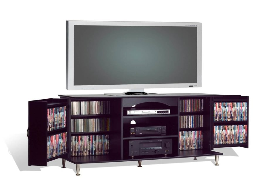 Contemporary entertainment center with folding panels.