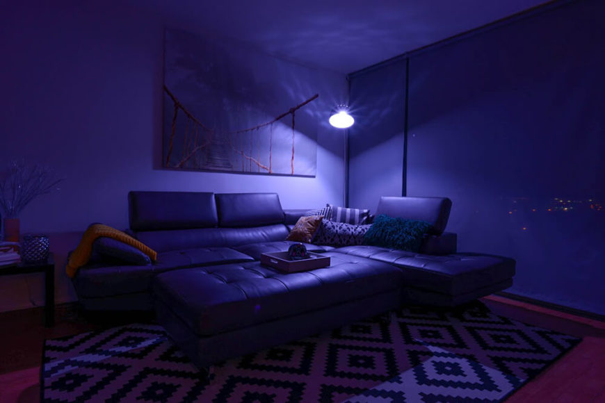 For a nice evening watching movies with friends, you might want to choose a nice subdued purple tone, to keep everyone comfortable while watching the movies, and still adequately light the room so people are tripping over obstacles.