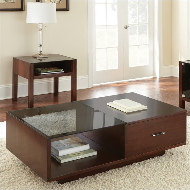 Sometimes, a piece of furniture checks off more than one category, and this svelte unit does so with style. Its sleek construction belies a grand amount of built-in storage, with a combination wood and glass surface that allows for a peek into the shelf below.