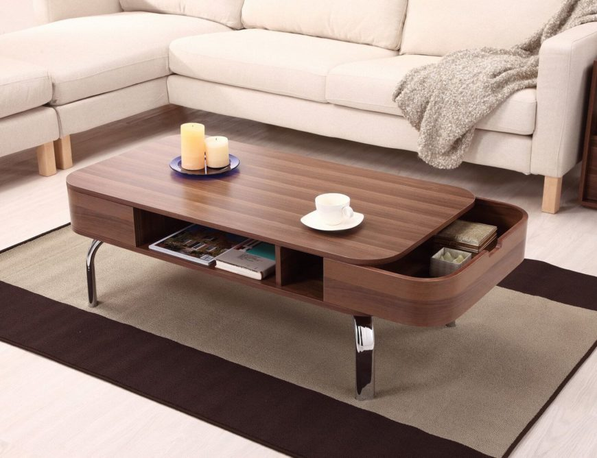 The sensuous curved lines on the sleek wood body of this coffee table help disguise the built-in storage, courtesy of a pair of drawers that pull out on each end. In the middle is an open storage compartment. The chromed legs add a dash of high contrast flash.