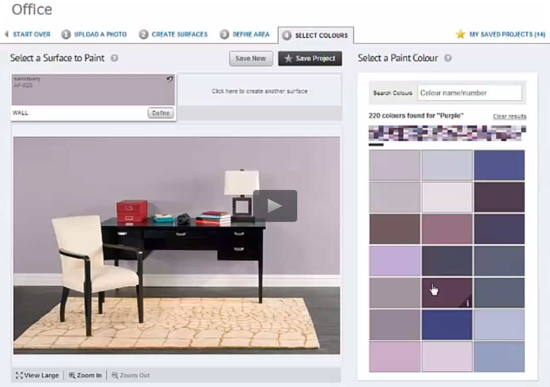 Color options with Benjamin Moore's paint color software