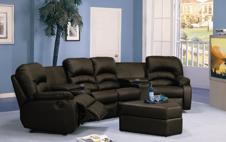 Curved seating like this is a perfect replacement for those who are used to a standard sofa sectional. Fitting nearly the same amount of space, the seating offers individualized recliner action plus a large wedge-shaped ottoman that can double as a coffee table.