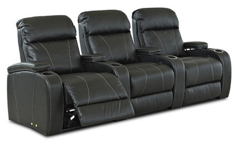 We love the light contrast that the stitching brings to this plus black leather recliner set. The armrests feature extra adjustable padding in addition to the built-in cupholders, while the three discrete seat backs offer more room and comfort.
