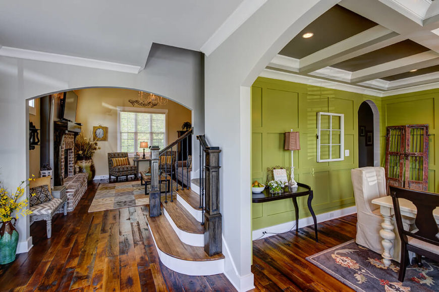 Upon entering, the first thing you cannot help but notice is all of the gorgeous reclaimed wood floors gracing the majority of the home's floors. That wood is not without its own story - all of it comes from a 100-year-old barn that once stood in Tennessee.