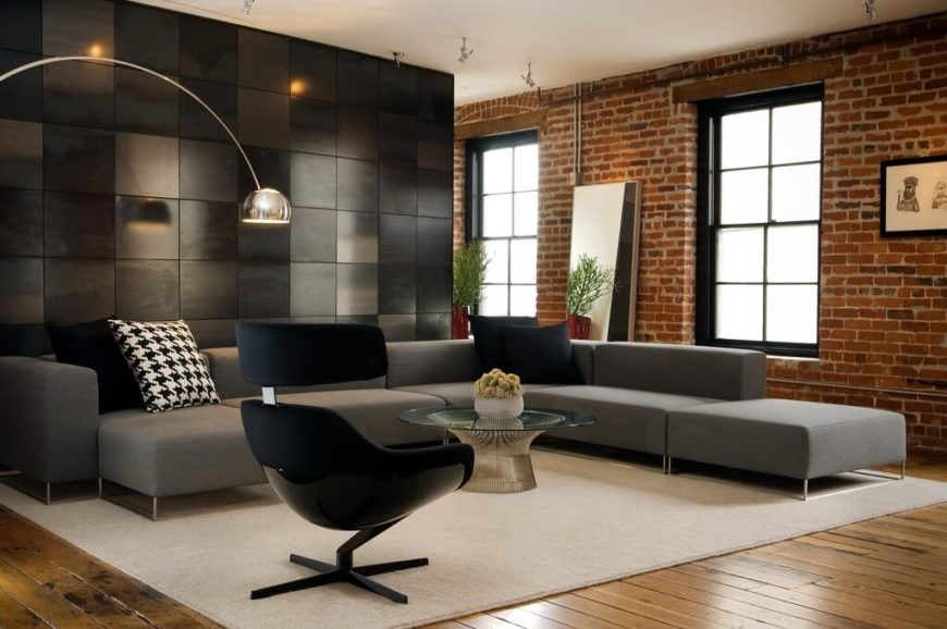 Again, a brick wall on a single side of a room is still enough to reap the benefits of brick - namely, sturdiness and historic cachet.