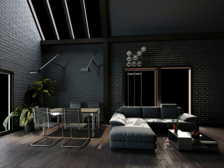 Again, although it is often pigeonholed as inflexible, brick offers a broad range of styles and colors. In this example, the black brick completes the decor's dark, smokey look.