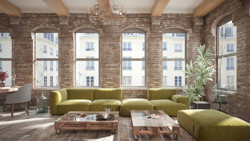 Whether or not the brick is just a small part of a room's decor, or it dominates the entire space, like the one above, large windows, mixed with floor-to-ceiling brick walls, create an impressive and pleasing juxtaposition.