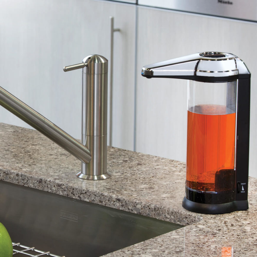 This ultra-modern design aims to match the look and feel of a professional grade soap dispenser, with a transparent body that allows you to observe the soap levels inside. A virtually hidden sensor means that soap is in hand without a single touch.