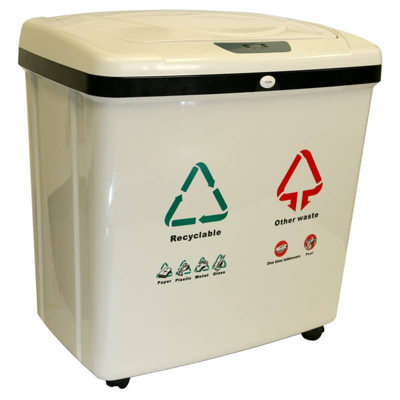 We love this product for its useful separation of garbage and recyclables, and for its futuristic design. The smooth plastic finish and bright labeling make it clear that this touchless bin means business.