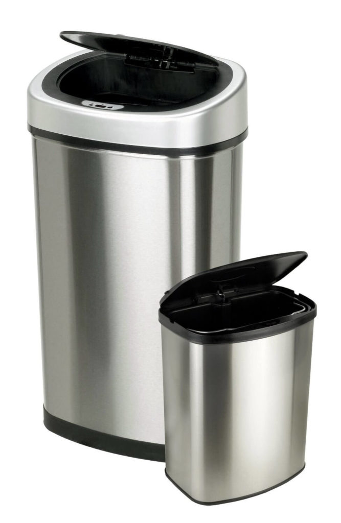 Sometimes one size doesn't fit all, and for that we bring you this pair of two hands-free bins: a taller model for the kitchen and a smaller one for your bathroom or living room. The brushed metal body and simple lid design make them attractive and unobtrusive.