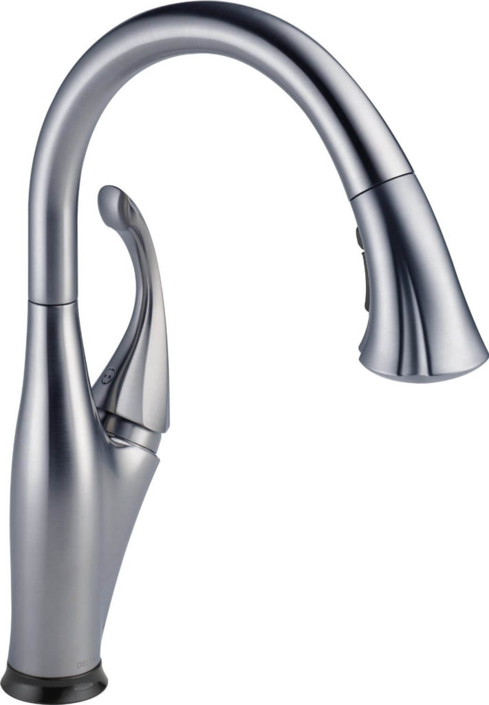 """Now we're looking at kitchen faucets, and while this one might fudge the """"touchless"""" definition a bit, we feel it belongs. You can use it as a normal faucet, or give it a light tap of the hand on the top of the curve to get instant water flow."""