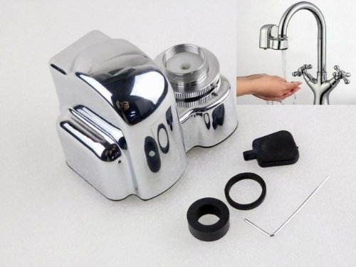 This water-saving kitchen faucet device allows you to convert an existing manual faucet into a fully automatic, touchless device. Its simple construction and adaptability mean that you can add this novel function to just about any existing kitchen.