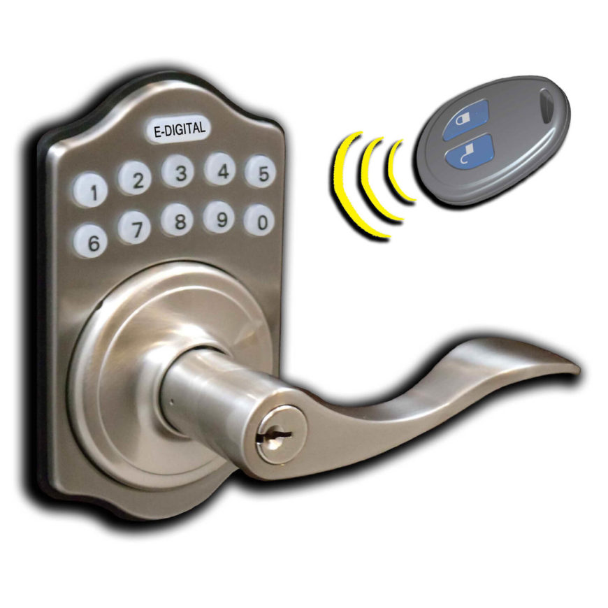 This model features both a digital keypad for combination passcode entry, plus a remote fob just like you'd use to enter your car. This allows the homeowner to remotely unlock the doors, making for easy hands-free entry.