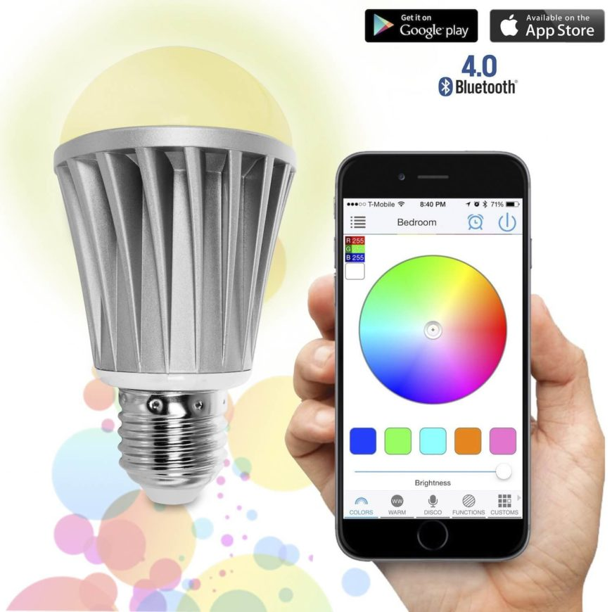 This single bulb supports over 16 million color gradients, and is controllable entirely via a smartphone app. It can be programmed to shine different colors at different times of the day, and can even be programmed to react to music in the room.