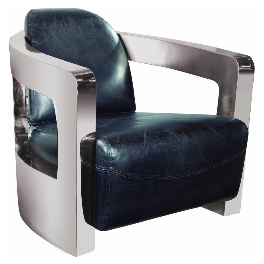 This space-age looking chair will have your man cave looking like the bridge of an intergalactic vessel! The futuristic design features a stainless steel frame and distressed, faux-leather upholstery. As eye-grabbing as it is comfortable, this chair is a great match for other metallic decor, crisp design, and a modern-feeling man cave - or the just the guy who wants to feel like part of his favorite sci-fi movies!