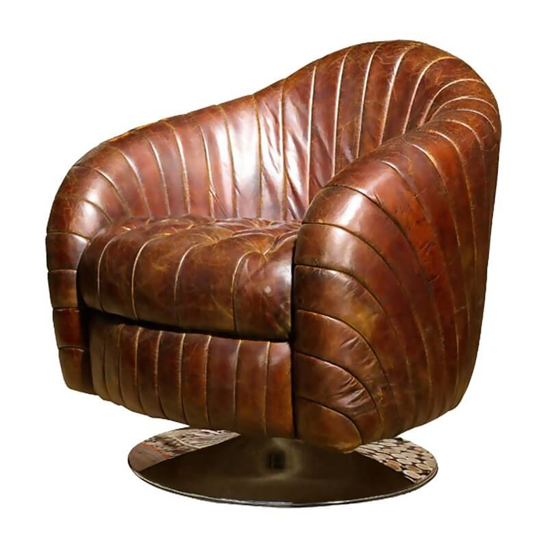This gorgeous, funky chair is reminiscent of something out of the 1970s, with a modern twist that only increases its versatility. The rich brown, faux-leather upholstery goes well with a range of woodgrains, warm or neutral hues, or even as a more subdued component of a brightly themed man cave. The style is distinctly vintage, and the distressed look of the upholstery further drives that home. With channel detailing, round base, and modern twists on a classic design, this is a chair that would look great in any man cave!