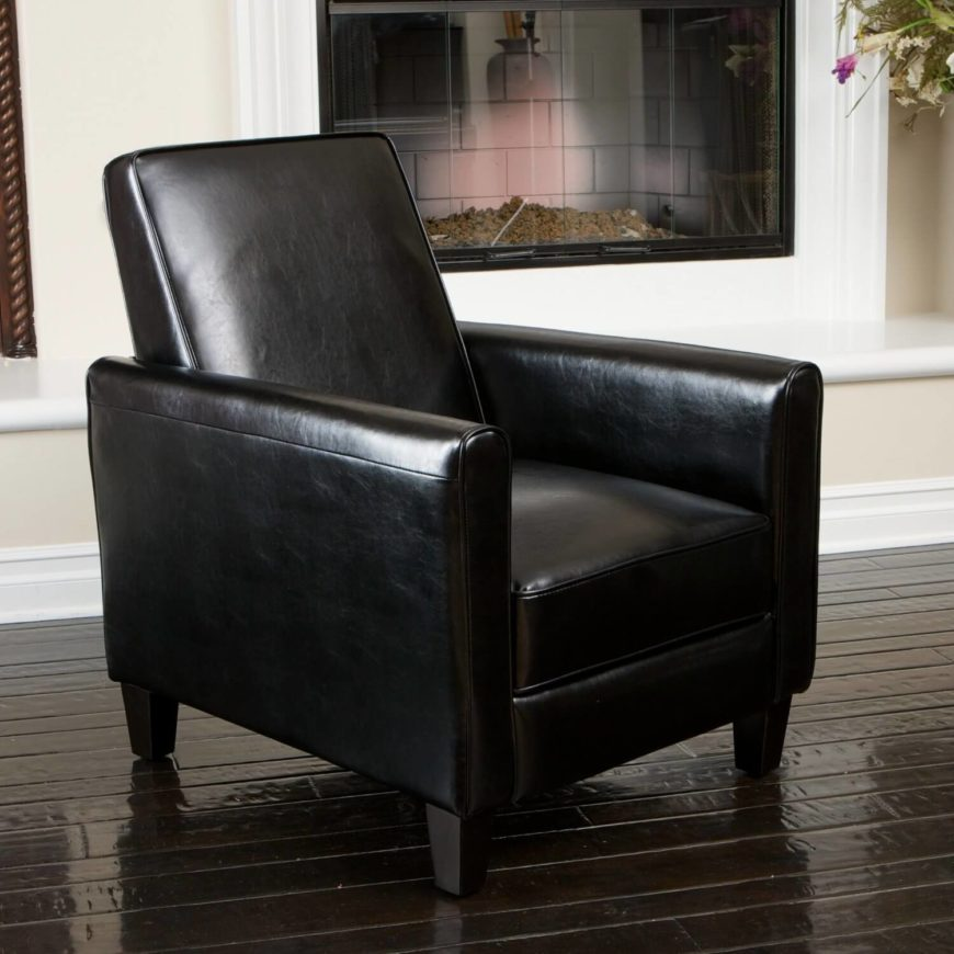 Combining the style and luxury of a square-frame and smooth leather upholstery with the comfort and versatility of a recliner, this seat is the golden mean of man cave chairs. With plush padding throughout the seat, arm rests, and back, this chair is built for maximum comfort without sacrificing its elegant looks. The reclining back and extending foot rests can be set to multiple positions, ensuring you're comfy in your man cave no matter how you want to relax. Sturdy wooden construction and bonded leather add durability to this gorgeous piece of furniture.