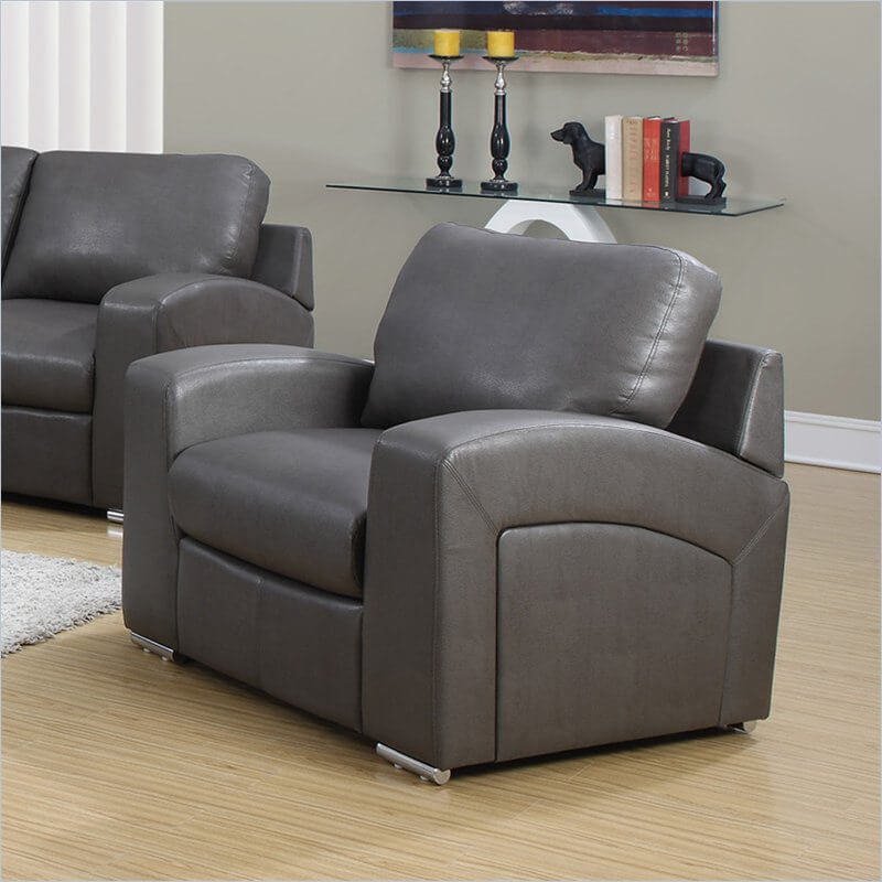 This low-backed, contemporary design brings a twist of modernity without foregoing traditional comfort. The rounded, contoured design is incorporated into each element of the chair, from sloping armrests to large, plush cushions. This ultra-comfortable seat rests on stylish, cylindrical chrome feet for a little bit of subtle flare, and the angled back completes the sleek - but not uninviting - look of this great man cave chair!