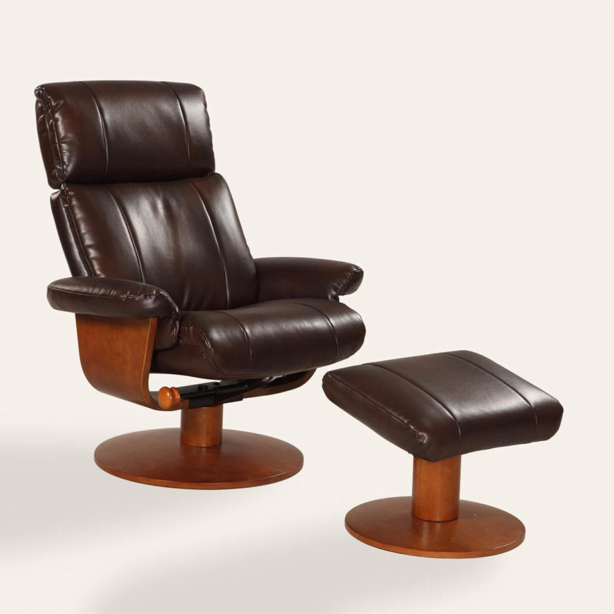With a European-inspired design that also maintains a vintage feel, this chair and ottoman combo provides comfort and style for your man cave. This is no ordinary recliner, though, with 360 degree swivel, memory foam padding, multiple reclining positions, adjustable height, and an air massaging lumbar system for lower back support. This is the perfect chair to kick back and relax.