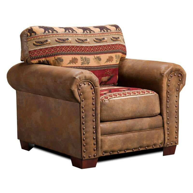 Make your man cave feel like your own personal hunting lodge with this classic design, printed with iconic bear, canoe, leaf, and moose pattern. With nail head trim and faux-leather upholstery, this chair sits wonderfully among other rustic-themed furniture, and with its hardy construction of a solid wood frame and fiber-wrapped cushions, it's a chair that can withstand living in a man cave.