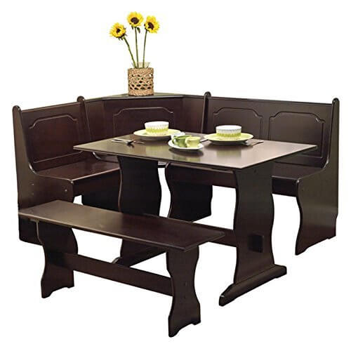 With its rich dark coffee wood finish and organically curved lower body, this corner dining set stands on the more stately end of the style spectrum. This would be a perfect addition to a more luxurious space, with simple styling and elegant touches that belie its useful features, like a built-in storage space.