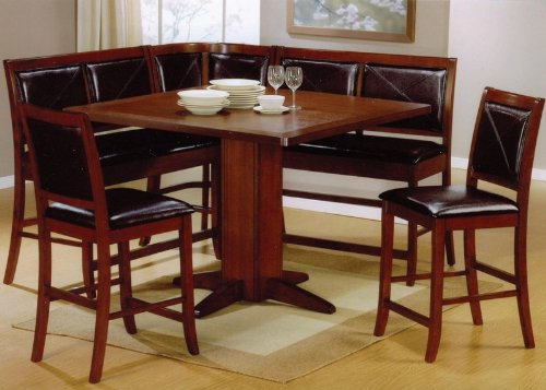 If you're looking for a more elegant solution to corner dining, a set like this is the key to completing your room. The rich tone of the hard wood is paired with sleek leather cushioning on the seats and back, making for a light contrast but high impact dining set.