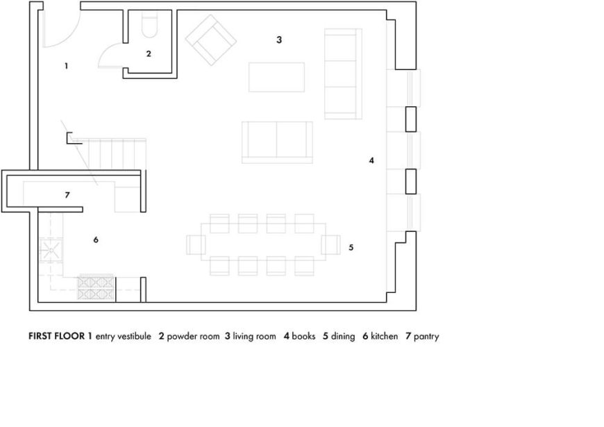 Here's the floor plan for the first floor of the home. Note the incredibly open layout.