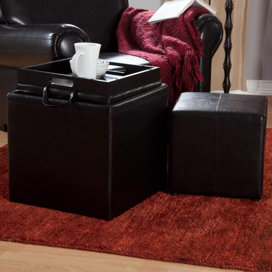 The Jameson ottoman is the perfect solution for a modestly sized space in need of storage and tabletop space. The lid of the ottoman flips over to reveal a smooth tray that can be used as a coffee table. The inside of the ottoman is spacious, perfect for storing blankets. Hidden caster wheels ensure that moving the ottoman is as simple as possible.