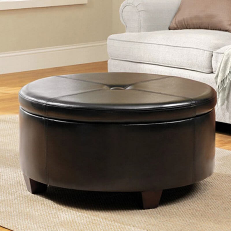 A stylish and practical ottoman with a lift off top that reveals a spacious storage compartment. The sleek faux leather upholstery ensures that care is a breeze; just wipe off any spills with warm water. The solid wooden feet and sturdy construction ensure that this piece will last for many years to come.