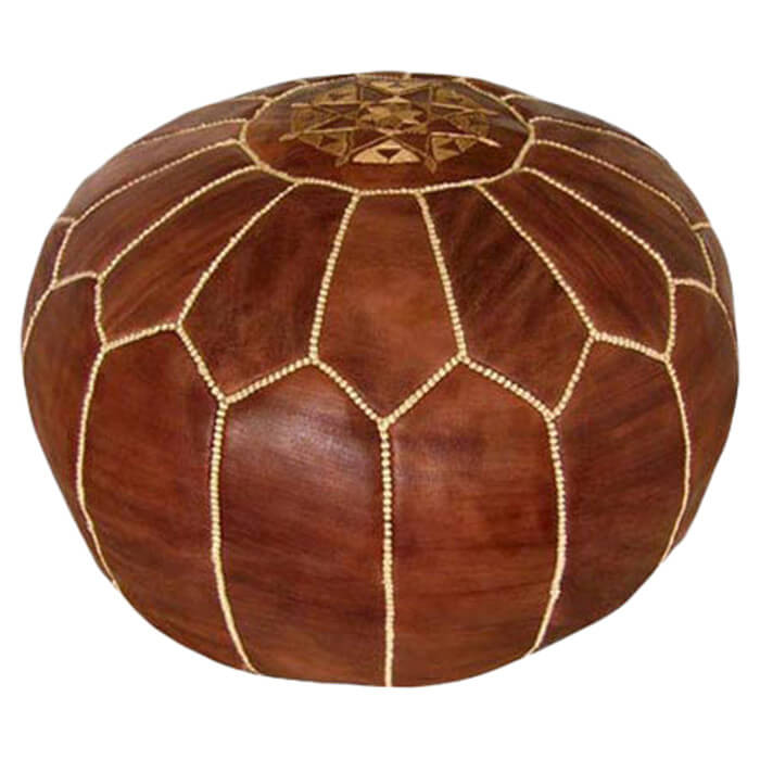 If your man cave has a more exotic decorating theme, this Moroccan inspired pouf may be a better option. Ideal for seating or for putting your feet up, this ottoman is full of style and beauty. The handmade pouf is made from goatskin leather and filled with soft fibers.