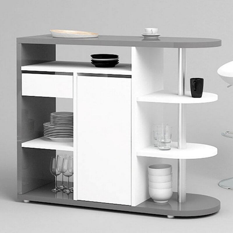 Here's a sleek and contemporary home bar that's designed to rest against a side wall for a convenient, small footprint and maximum stability. The curved bar top and stainless steel pole emphasize the modern design, while a bevy of open shelves and drawers make for a useful place to store drinks and dishes.
