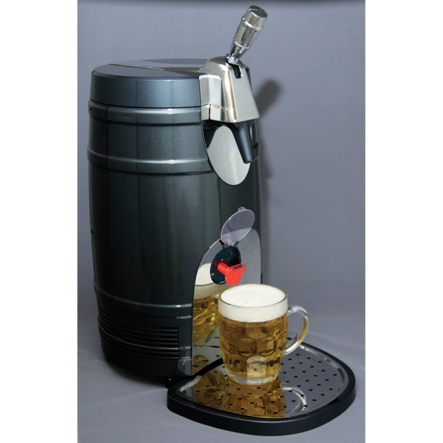 If you're looking for something more portable, this intriguing little kegerator might be the perfect fit for your man cave. Built like the sleek cross between a keg and a coffee pot, it's got a chromed handle and glossy finish, making it a handsome fit in any style room. The portability comes into play if you've got limited space or if your man cave simply isn't normally set up to serve drinks.
