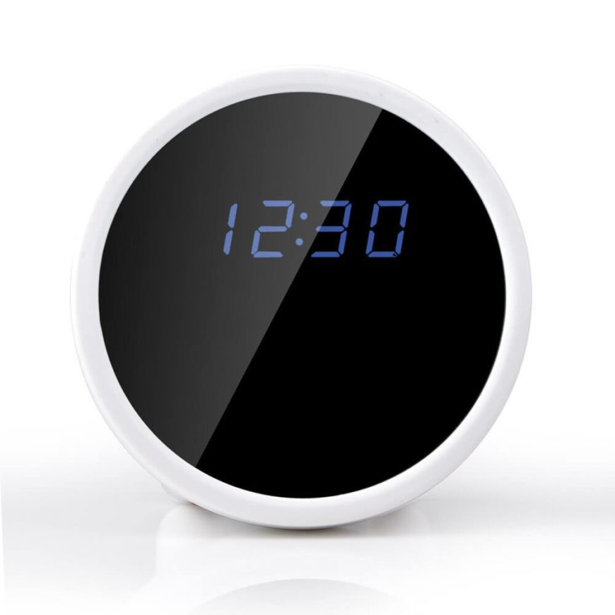 "Here's another fantastic stealth device, a smart home camera disguised as a simple alarm clock. With a full HD camera, built-in digital recording memory, and motion detection, it's able to monitor and secure your home without anyone knowing. The clock itself features ""talking"" function to tell you the time without having to look, and the camera functions are controlled via smartphone, wirelessly."