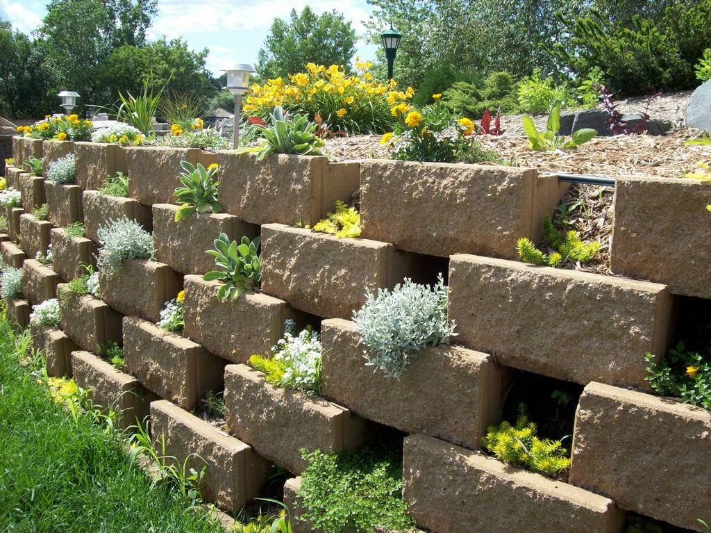 Terracing is another cleaver way to increase a garden area. Leaving space in between the bricks allows for plants to jet out of those spaces, providing a crazy quilt of different plant species to make known their presences.