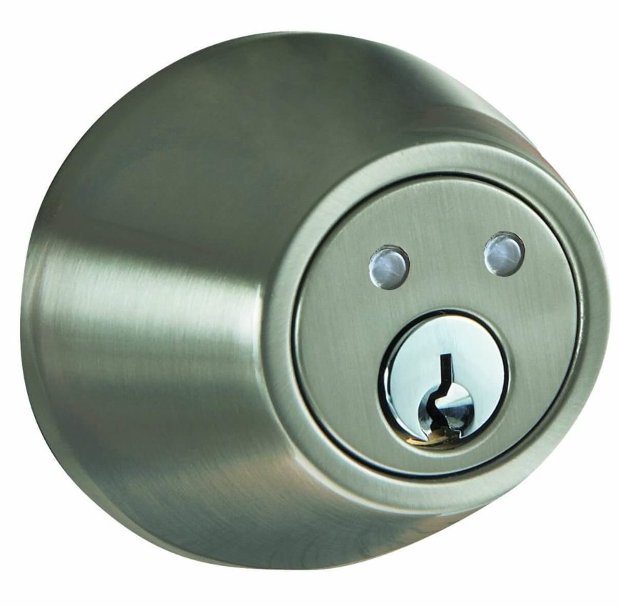 Here's another very discreet, handsome satin nickel smart home deadbolt door lock. It's easy to install with only a screwdriver on any standard residential thickness door. The lock features anti-scan code hopping technology, so that you'll feel safe locking and unlocking the door while in RF range with the included remote.