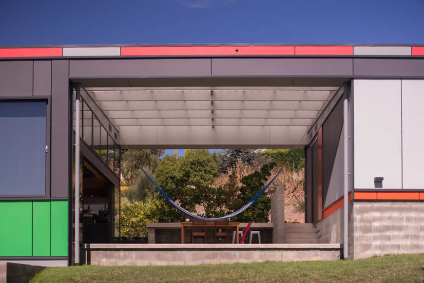 Here's the open exterior volume of the home, a comfortable outdoor space that's protected from the elements and connected directly to the home.
