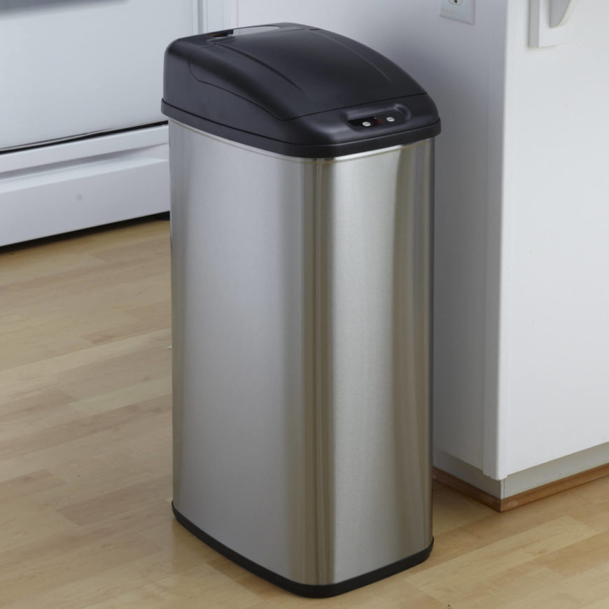 This handsome stainless steel trash can is so much more than it appears, with a motion sensor built in that allows you to throw things away hands-free. It's great for reducing the chance of messes or the spread of germs, in addition to being simply a massive convenience. The soft-close system keeps things quiet, while the lengthy battery life ensures you won't have to worry about replacements for a full year.