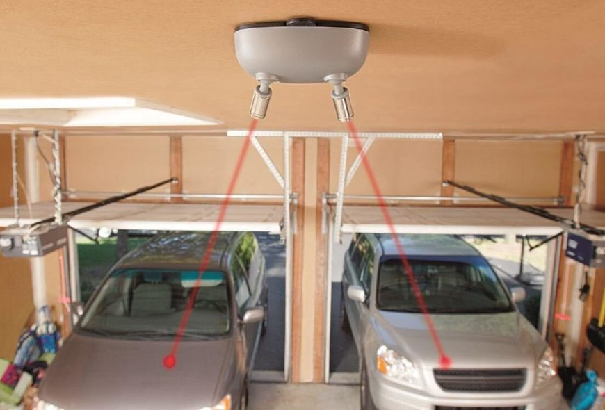 Here's a truly innovative use of smart technology that could improve almost any home, letting you park perfectly every time. If space in your garage is tight, or if you just want to make sure you're not damaging the car, the twin lasers mounted on the ceiling of your garage can guide you to that perfect spot every time. With a motion activated sensor, it will turn on automatically as soon as you open the door. The laser shines on a designated spot on your car to guarantee precise, worry free parking.