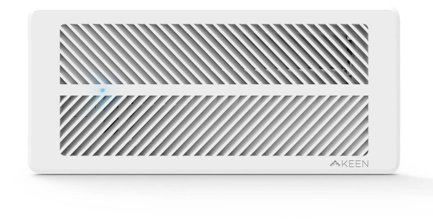 Here's a close look at the vent itself. Note that it's mostly unobtrusive, appearing just like a standard home vent. There's no need to draw attention to itself when the results speak so clearly. With built in temperature and pressure sensors, it will control algorithms that extend battery life for years, in addition to regulating the home's temperature.